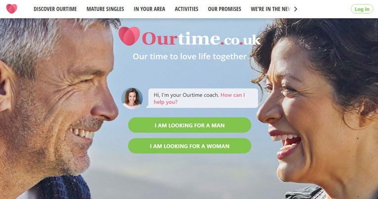 OurTime printscreen homepage